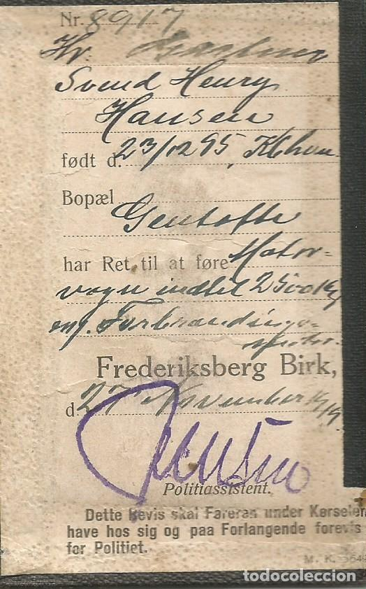 Militaria: ANTIGUO CARNET DE CONDUCIR MILITAR DANES FOTO OFICIAL EJERCITO 1919 1ª GUERRA MUNDIAL FORERBEVIS - Foto 3 - 255961125