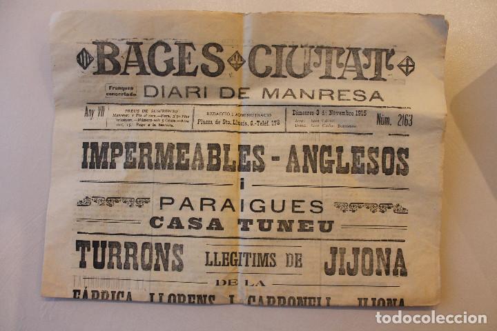BAGES CIUTAT, DIARI DE MANRESA, 1915 (Militar - I Guerra Mundial)