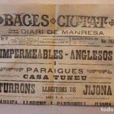 Militaria: BAGES CIUTAT, DIARI DE MANRESA, 1915. Lote 263141920