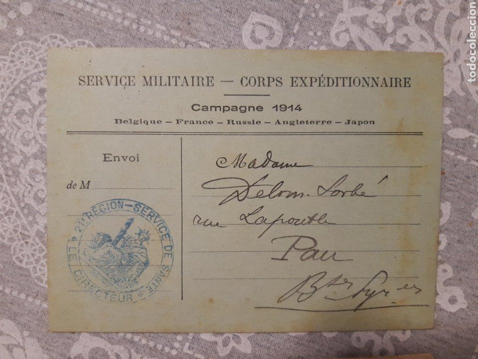 Militaria: Lote de 3 tarjetas postales militar Francia 1914 Service militaire Campagne 1914 selladas Guerra - Foto 2 - 263192615