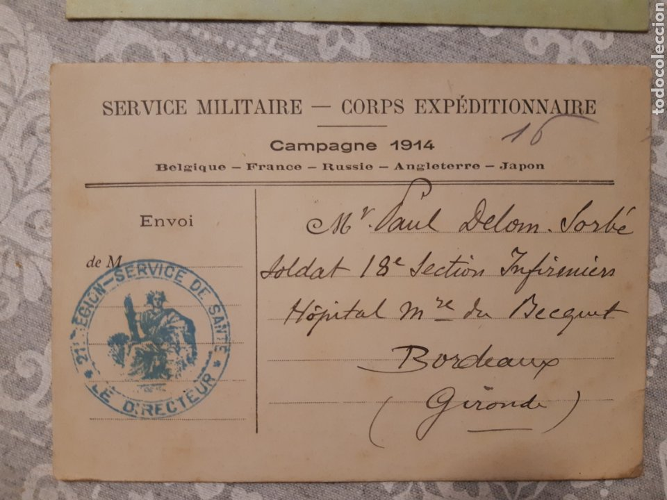 Militaria: Lote de 3 tarjetas postales militar Francia 1914 Service militaire Campagne 1914 selladas Guerra - Foto 3 - 263192615