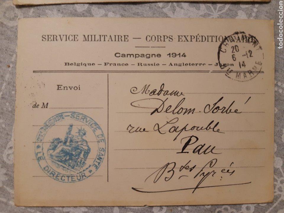 Militaria: Lote de 3 tarjetas postales militar Francia 1914 Service militaire Campagne 1914 selladas Guerra - Foto 4 - 263192615