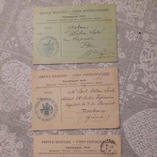 Militaria: LOTE DE 3 TARJETAS POSTALES MILITAR FRANCIA 1914 SERVICE MILITAIRE CAMPAGNE 1914 SELLADAS GUERRA. Lote 263192615