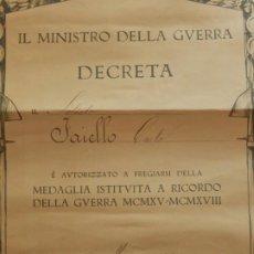 Militaria: ITALIA. CONCESIÓN DE LA MEDALLA EN RECUERDO DE LA GUERRA DE 1915 A 1918. CONCESIÓN FECHADA EN 1921.. Lote 11960870