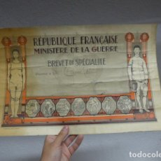 Militaria: ANTIGUA CONCESION DIPLOMA DEL MINISTERIO DE GUERRA FRANCES, ORIGINAL, 1 GUERRA MUNDIAL. FRANCIA.. Lote 266558933