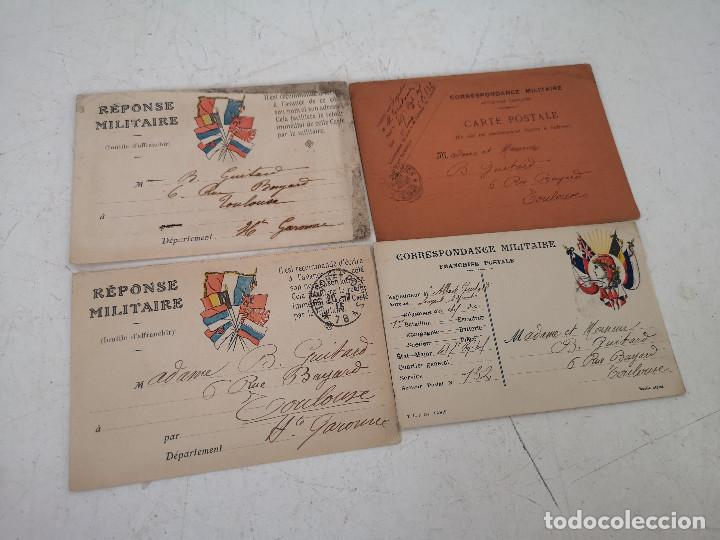 PPIOS XX, 1ª GUERRA MUNDIAL, 4 PIEZAS DE CORRESPONDENCIA MILITAR, MANUSCRITAS AL REVERSO,14 X 10 CMS (Militar - I Guerra Mundial)