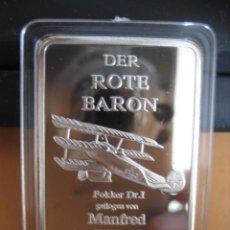 Militaria: LINGOTE PLATA LAMINADA. DER ROTE BARON. ALEMANIA I GUERRA MUNDIAL. Lote 293203423
