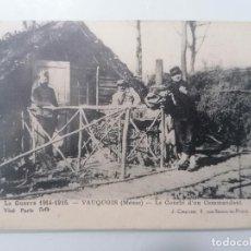 Militaria: POSTAL, LA GUERRA 1914-15 - VAUQUOIS, EL GOURBI DE UN COMANDANTE, AÑO 5-8-1915. Lote 295284393
