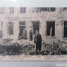 Militaria: POSTAL, NIEUPORT EN BELGICA, CASAS EN RUINAS 1914. Lote 295291263