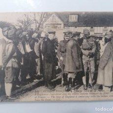 Militaria: POSTAL, GUERRA 1914-1915, EN EL NORTE DE FRANCIA, EL REY DE INGLATERRA SE ENCUENTRA CON SOLDADOS. Lote 295296398