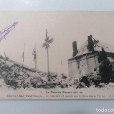 Militaria: POSTAL HEBUTERNE, EL CEMENTERIO ESTÁ ENTERRADO BAJO LA BASURA DE LA IGLESIA, CIRCULADA 11-SEPT-1916. Lote 295412328