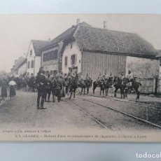 Militaria: POSTAL, ALSACE, DEVOLUCIÓN DE UN RECONOCIMIENTO DE CHASSECURS A CABALLO, AÑO 1911. Lote 295480183
