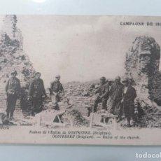 Militaria: POSTAL, RUINAS DE LA IGLESIA DE OOSTKERKE (BELGICA), CAMPAÑA 1914-17, AÑO 1919. Lote 295480553