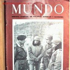 Militaria: SEMANARIO MUNDO Nº 257 DE 8 DE ABRIL DE 1945. ABUNDANTE MATERIAL GRÁFICO Y PLANOS. Lote 25085822