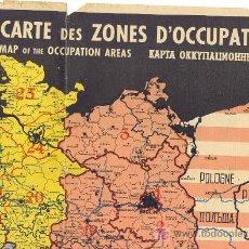 Militaria: 2ªGUERRA MUNDIAL MAPA REPARTICIÓN ALEMANIA POR ZONAS DE OCUPACIÓN FRANCESA, AMERICANA,RUSA,INGLESA. Lote 23394019