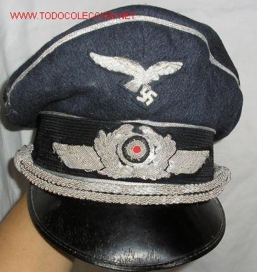 GORRA DE PLATO PARA OFICIAL LUFTWAFFE. IIGM. INTERIOR CON MARCAJE. COMPLETA. . (WWII (Militar - II Guerra Mundial)