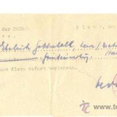Militaria: PERMISO PARA ABANDONAR UN DISTRITO 12/10/1944. Lote 22420095