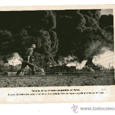 Militaria: LAMINA DE LA II GUERRA MUNDIAL 18X24 TANQUES DE LAS REFINERIAS DE PETROLEO EN LLAMAS. Lote 13062134
