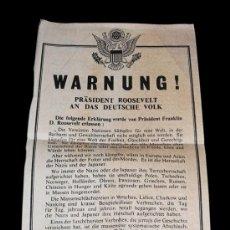 Militaria: RARO PARA ENCONTRAR !PAPEL DE PROPAGANDA.LANZAMIENTO DE ALIADOS EN LA SEGUNDA GUERRA 1945.. Lote 13796597