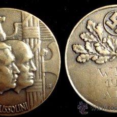 Militaria: MEDALLA DE MANO REUNION HITLER MUSSOLINI 1939 - GRAN TAMAÑO - VA MARCADA. Lote 56660580