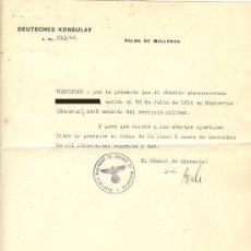 Militaria: CURIOSO DOCUMENTO ORIGINAL CONSULADO ALEMÁN EN PALMA DE MALLORCA. AÑO 1942. BALEARES.. Lote 20290275