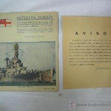Militaria: DOCUMENTO ESCUADRA INGLESA II GUERRA MUNDIAL BAJAS DADAS POR SU ALMIRANTAZGO, ANOS 40-50. Lote 23119618