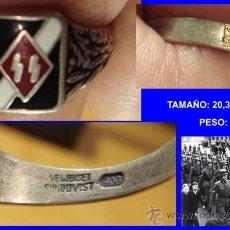 Militaria: PRECIOSO ANILLO PROPAGANDA DE LA GESTAPO SS TERCER REICH CON MARCAJES INTERNOS SS Y ESMALTES. Lote 34685232