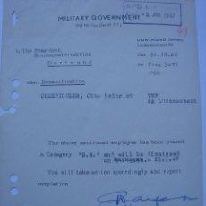 Militaria: WWII. ALEMANIA FEDERAL. DOCUMENTO DE DESNAZIFICACIÓN. Lote 44363483