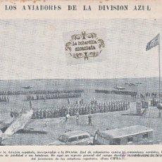 Militaria: RECORTE DE REVISTA 31/08/1941 - JURAMENTO BANDERA LA DIVISION AZUL - RECORTE FOTO CALIDAD PORTADA . Lote 44788909