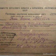 Militaria: CARNET DE UN PRISIONERO DE GUERRA .URSS .CRUZ ROJO. Lote 221945753