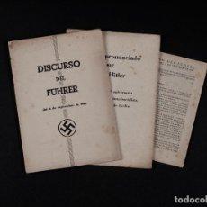 Militaria: DISCURSOS DEL FÜHRER 1940-41, II GUERRA MUNDIAL, LOTE DE 3 LIBRILLOS.. Lote 83596272