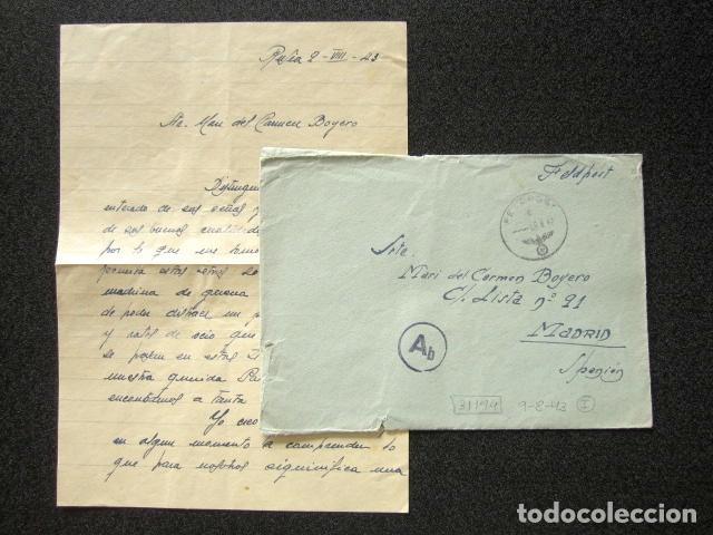 DIVISIÓN AZUL. CARTA Y SOBRE ENVIADO DESDE EL FRENTE RUSO. BATALLÓN DE RESERVA. RUSIA, AÑO 1943 (Militar - II Guerra Mundial)