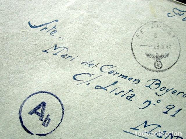 Militaria: DIVISIÓN AZUL. CARTA Y SOBRE ENVIADO DESDE EL FRENTE RUSO. BATALLÓN DE RESERVA. RUSIA, AÑO 1943 - Foto 2 - 90544325