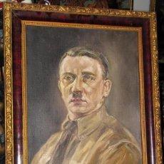 Militaria: PINTURA OLEO DE ADOLF HITLER 1940 AÑO FIRMADO , EXTRAMADAMENTE RARO , ORGINA DE EPOCA. Lote 96189555