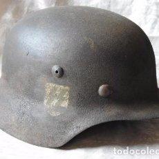 Militaria: CASCO DE WAFFEN SS M36 NEGRO , FIRMADO ORGINAL DE EPOCA. Lote 100798923
