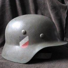 Militaria: CASCO DE WEHRMACHT M35 VERDE, TERCER REICH , FIRMADO ORGINAL MUY RARO. Lote 112473795