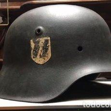 Militaria: CASCO DE WAFFEN SS M42 VERDE , FIRMADO 100% ORGINAL DE EPOCA , EXTRAMADAMENTE RARO !!! . Lote 112674819