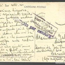 Militaria: POSTAL DE RODI, D. R. PERETTI-GRIVA, S.I.G. FEDETTO, TORINO. CENSURA . CIRCULADA 1941. Lote 118354079
