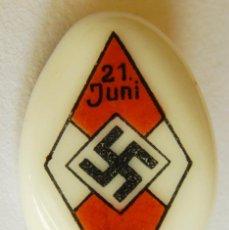 Militaria: INSIGNIA DE LAS JUVENTUDES HITLERIANAS 21 DE JUNIO 1934. FABRICADA EN PORCELANA. EXCELENTE.. Lote 120637403