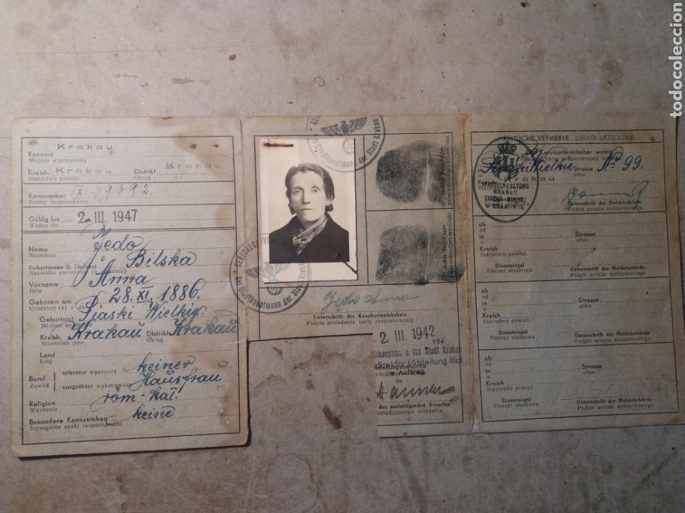 DOCUMENTO POLACO KRACOVIA 1942.SELLOS NAZIS (Militar - II Guerra Mundial)