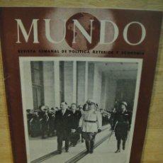 Militaria: MUNDO Nº 65 ,3 DE AGOSTO 1941 - EL IMPERIO JAPONES , EL CARRO DE COMBATE , RUSIA , ETC. Lote 121459323