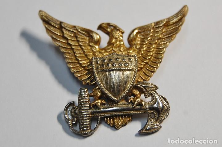 INSIGNIA PLATA MACIZA.GORRA GARRISON DE OFICIAL GUARDIA COSTERA ESTADOS UNIDOS.2ª GUERRA MUNDIAL (Militar - II Guerra Mundial)