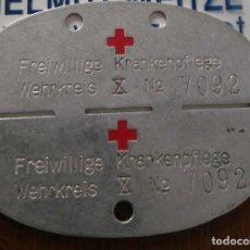 Militaria: DIVISIÓN AZUL, CHAPA IDENTIFICACIÓN ENFERMERA ALEMANA. Lote 134077434