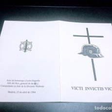 Militaria: ACTO HOMENAJE MUERTE LEON DEGRELLE. Lote 140323317