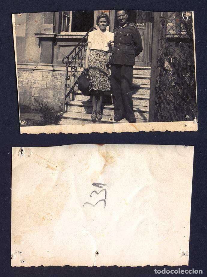 FOTO VINTAGE RETRATO SOLDADO Y MUJER FOTOGRAFIA SEGUNDA GUERRA MUNDIAL WW II ALEMANIA 1944 (Militar - II Guerra Mundial)