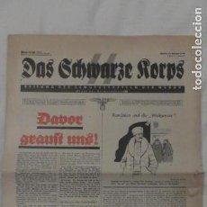 Militaria: PERIODICO DAS SCHWARZE KORPS. EDITADO EN BERLIN ENERO DE 1938. SS TERCER REICH ORIGINAL DE ÉPOCA. Lote 147334014