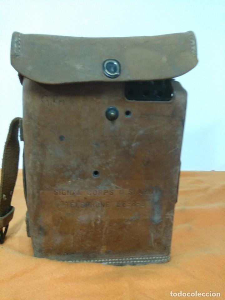 TELEFONO DE CAMPAÑA U.S ARMY WWII SIGNAL CORPS TELEPHONE EE-8-B FIELD PHONE - LEATHER CASE - VTG (Militar - II Guerra Mundial)