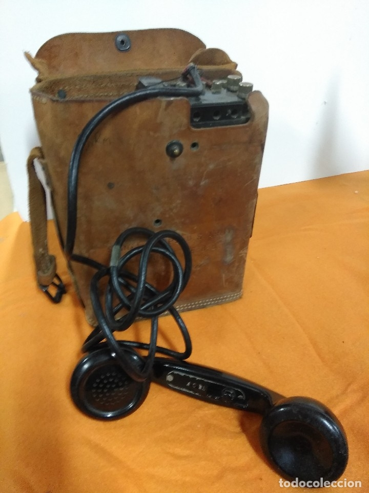 Militaria: TELEFONO DE CAMPAÑA U.S Army WWII Signal Corps Telephone EE-8-B Field Phone - Leather Case - Vtg - Foto 5 - 147354338