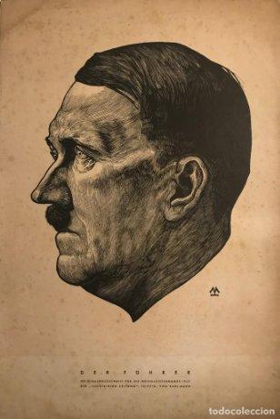 1942 Lámina original Der Führer. Adolf Hitler. Grabado de Karl Mahr 38,4×26 cm