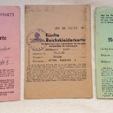 Militaria: LOTE DE 3 CARTILLAS DE RACIONAMIENTO DE ROPA WWII – AÑOS 1941 Y 1945 - ALEMANIA NAZI. Lote 159367470